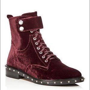 Vince Camuto Velvet Lace Up Booties NEW